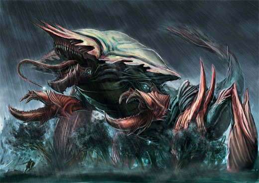 Huge sea monster water colossus rift video game