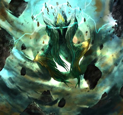 Blue lightning bird air colossus rift video game