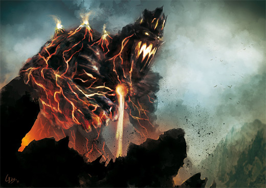 Volcano golem fire colossus rift video game