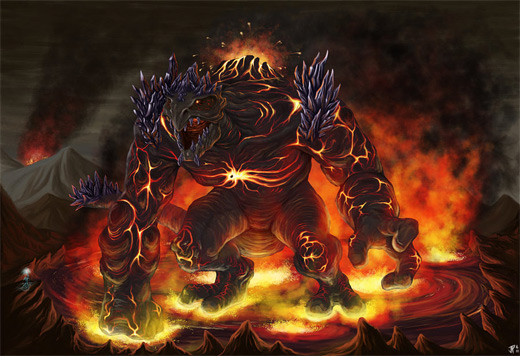 Volcano creature fire colossus rift video game