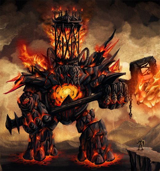 Flame red fire colossus rift video game