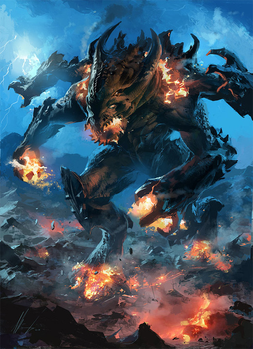 Lava blue fire colossus rift video game