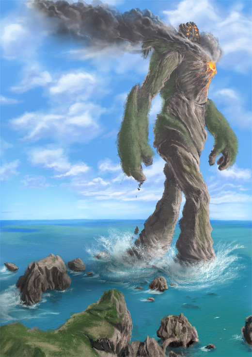 Volcano rift earth colossus illustrations artworks