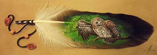 Owl feather painting