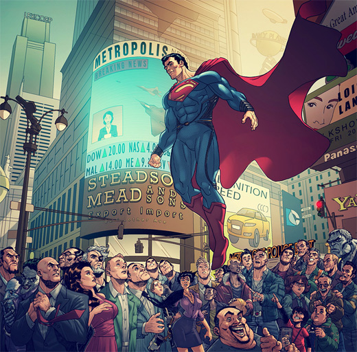 Punching superman man of steel fan art illustration artworks