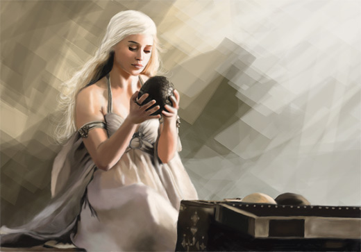 Daenerys white hair game of thrones illustration artworks