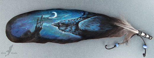 Raven crow night feather painting