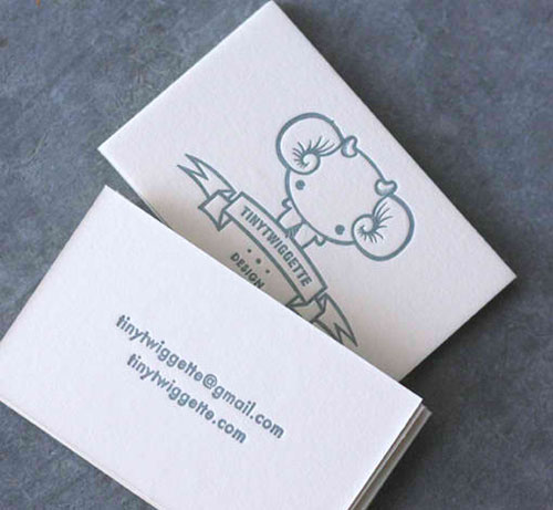Tiny Twiggette Letterpress Business Card