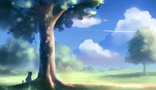 Cat kitten painting trees free download wallpapers high resolution hi res