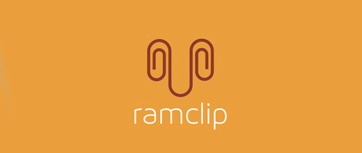 Ram sheep paper clip logo design collection