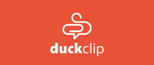 Duck paper clip logo design collection