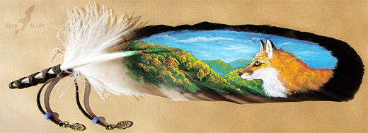 Nature fox feather painting