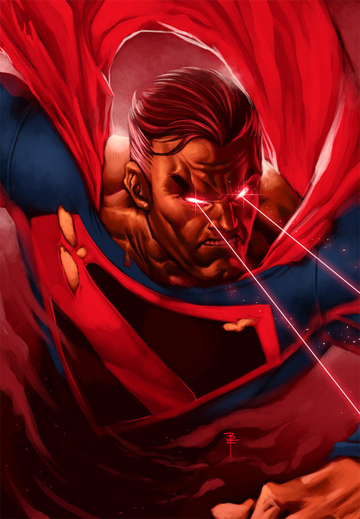Laser eyes superman man of steel fan art illustration artworks