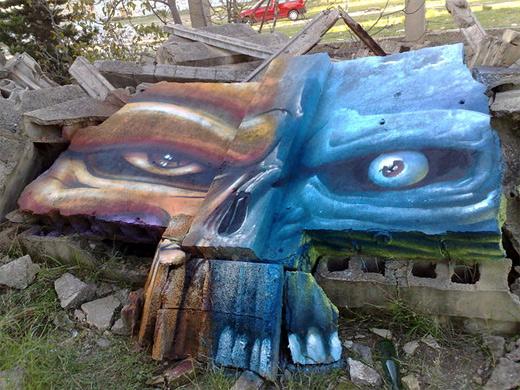 ruins rocks skull graffiti artworks collection