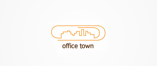 Town city buildings paper clip logo design collection