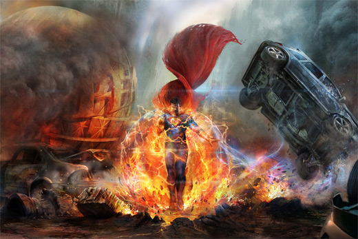 Destruction chaos superman man of steel fan art illustration artworks