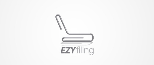 Easy filing paper clip logo design collection