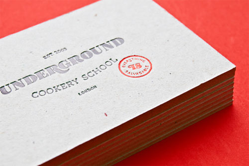 Underground Cookery School Business Card