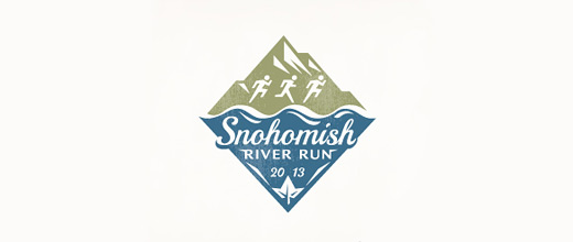 Vintage run mountain logo design collection
