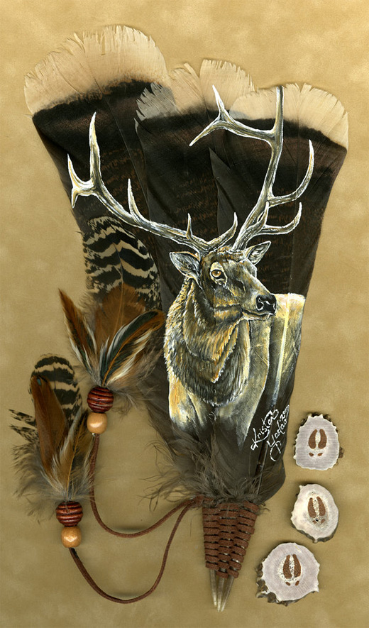 Elk feather painting