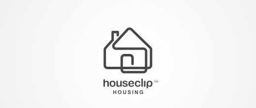 House home paper clip logo design collection