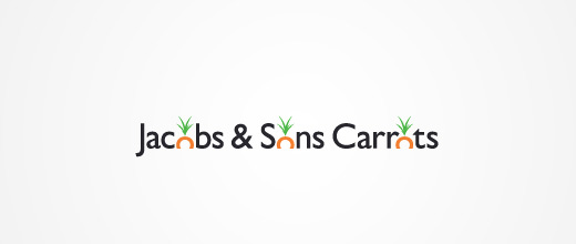 Typography carrot logo design collection