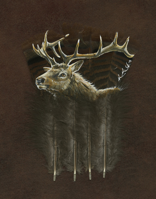 Elk feather paintingElk feather painting