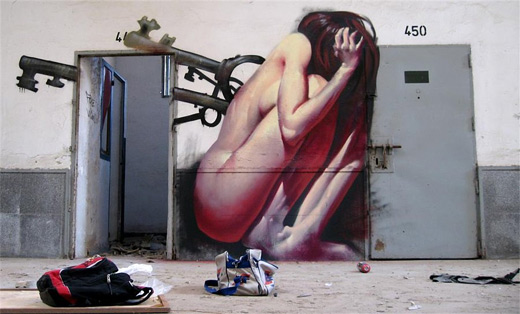 Scared lady graffiti artworks collection