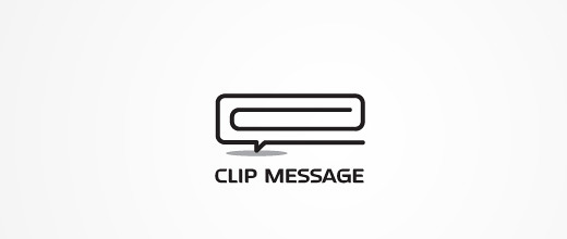 Box message ballon paper clip logo design collection