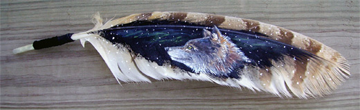 Wolf feather painting