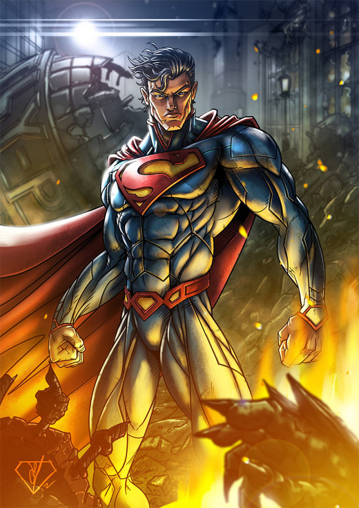 Muscles superman man of steel fan art illustration artworks