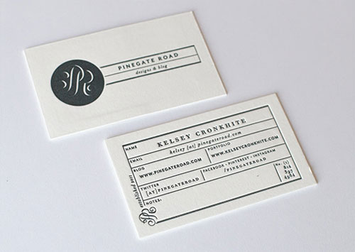 Pinegate Road Designs business card