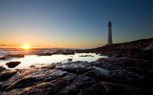 Sunset at lighthouse wallpapers