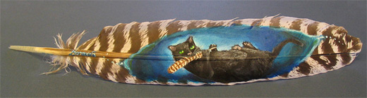 Cat feather painting