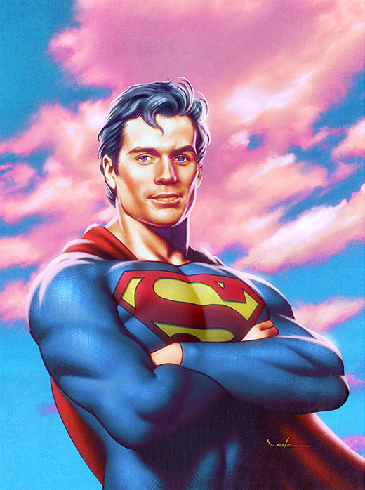 Posing superman man of steel fan art illustration artworks