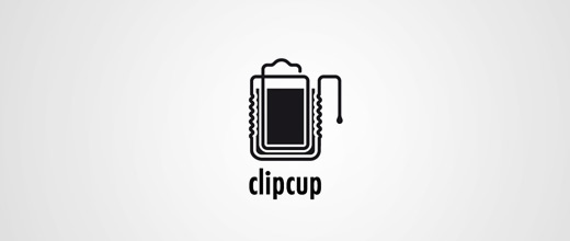 Beer cup paper clip logo design collection