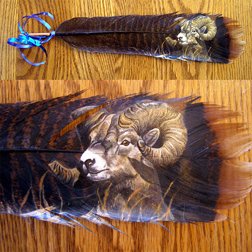 Bighorn ram feather painting