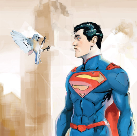 Bird superman man of steel fan art illustration artworks
