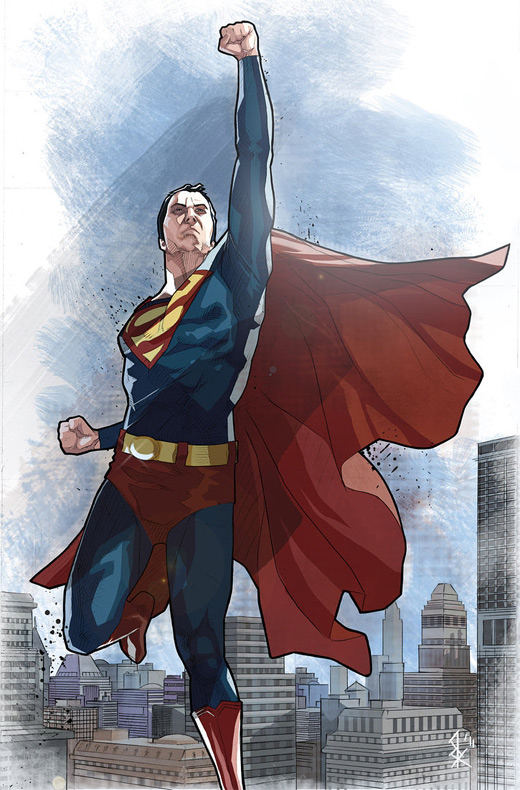 Comics flying superman man of steel fan art illustration artworks