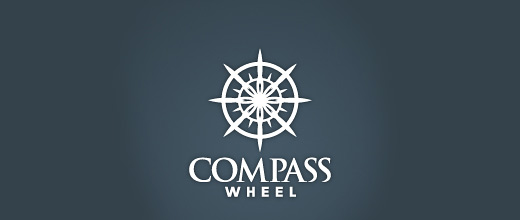 Ship wheel compass logo design collection