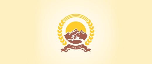 Yellow mountain logo design collection