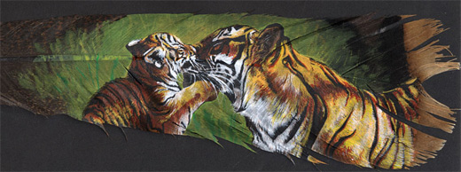 Tiger cub feather painting