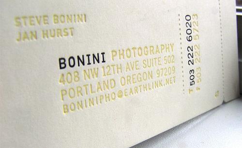 Bonini Photography business card