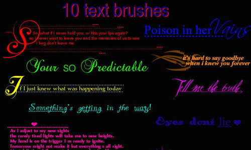 A Text brush set