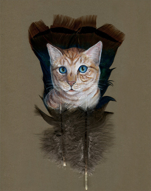 Orange cat feather painting
