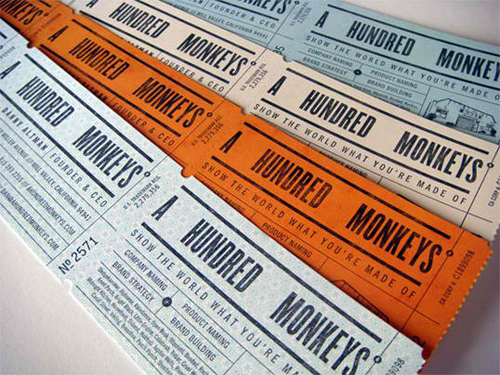 A Hundred Monkeys business card
