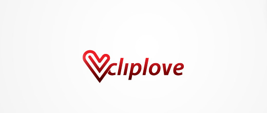 Red heart love paper clip logo design collection