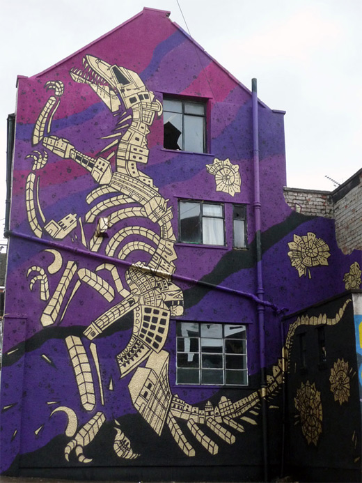 Dinosaur building graffiti artworks collection