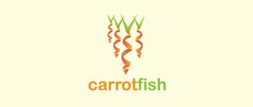 Fish spiral carrot logo design collection