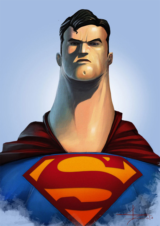 Long neck caricature superman man of steel fan art illustration artworks